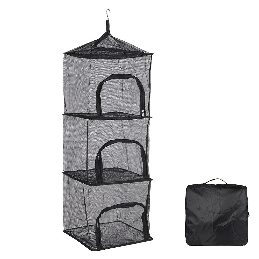 3 Layers Vegetable Fish Dishes Mesh Hanging Dry Net Portable Collapsible Drying Rack Net Shelf Basket with Storage Bag