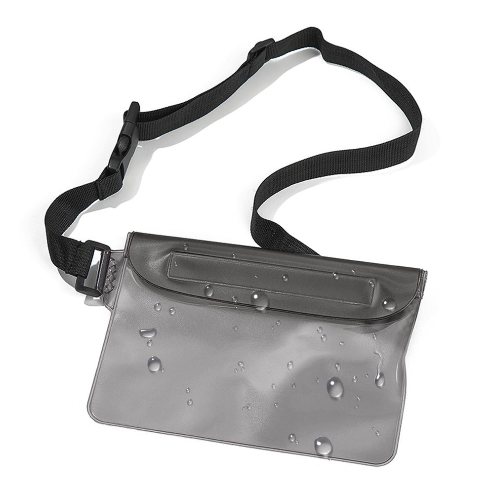 Waterproof Pouch with Adjustable Waist Strap 3-Zipper Design Waterproof Waist Bag