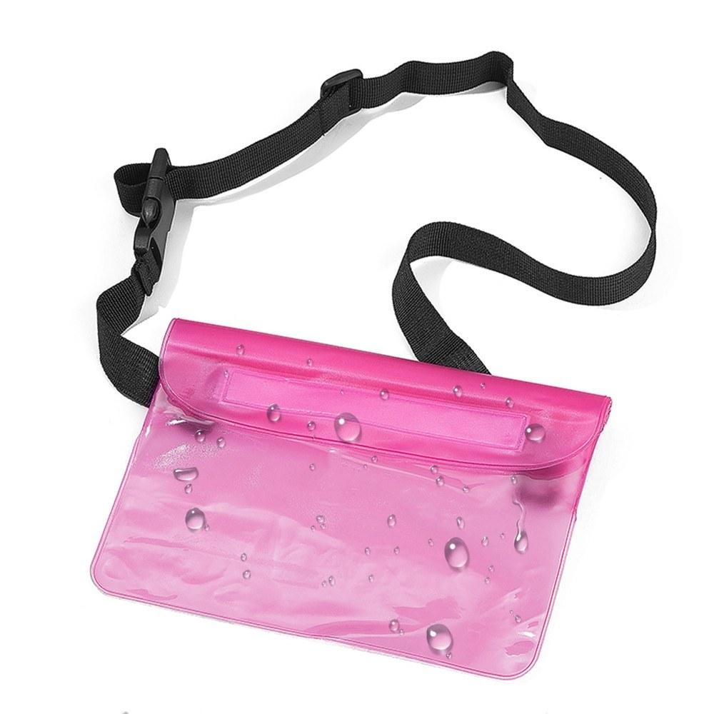 Waterproof Pouch with Adjustable Waist Strap 3-Zipper Design Waterproof Waist Bag