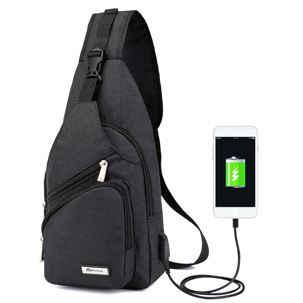 Portable Men's Chest Bag Outside Leisure Travel Cycling Multi-functional Couples Small Bags with USB Port