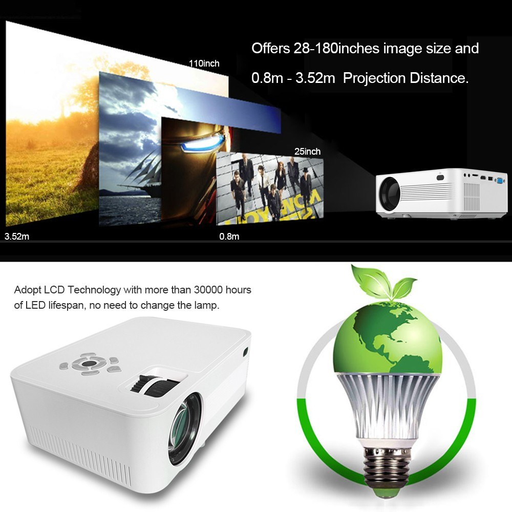 JVP600 LED LCD Projector 1080P Home Theater 2000 Lumens Media Player 110 Inches Image Size 800 * 480P 1500:1 Contrast Ratio HD IN VGA AV TF Card Slot Remote Controller for Notebook Laptop DVD Player EU Plug