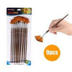 9 PCS Fan Paint Brush Set