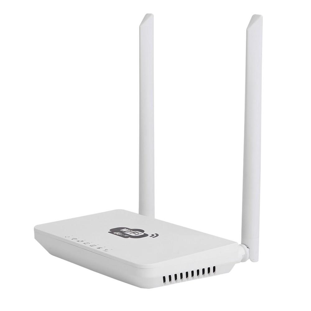 4G Wireless Wifi Router LTE 300Mbps Mobile MiFi Portable Hotspot with SIM Card Slot EU Plug(White)