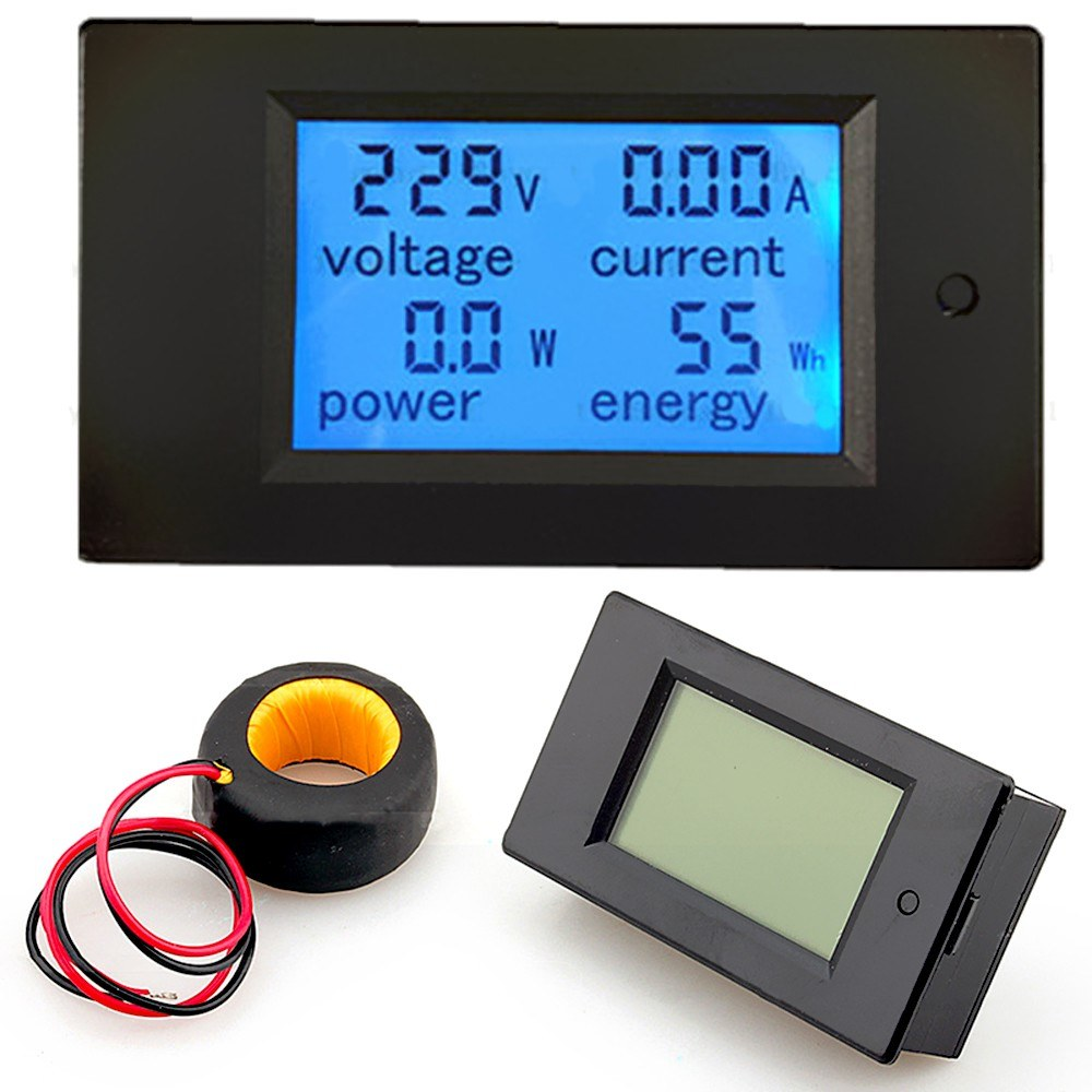 100A AC  80V-260V 20A /100A 4 in 1 Digital LCD Panel Digital Power Watt Monitor Current Voltmeter Ammeter Voltage KWh Multimeter Tester Meter with Current Transformer CT