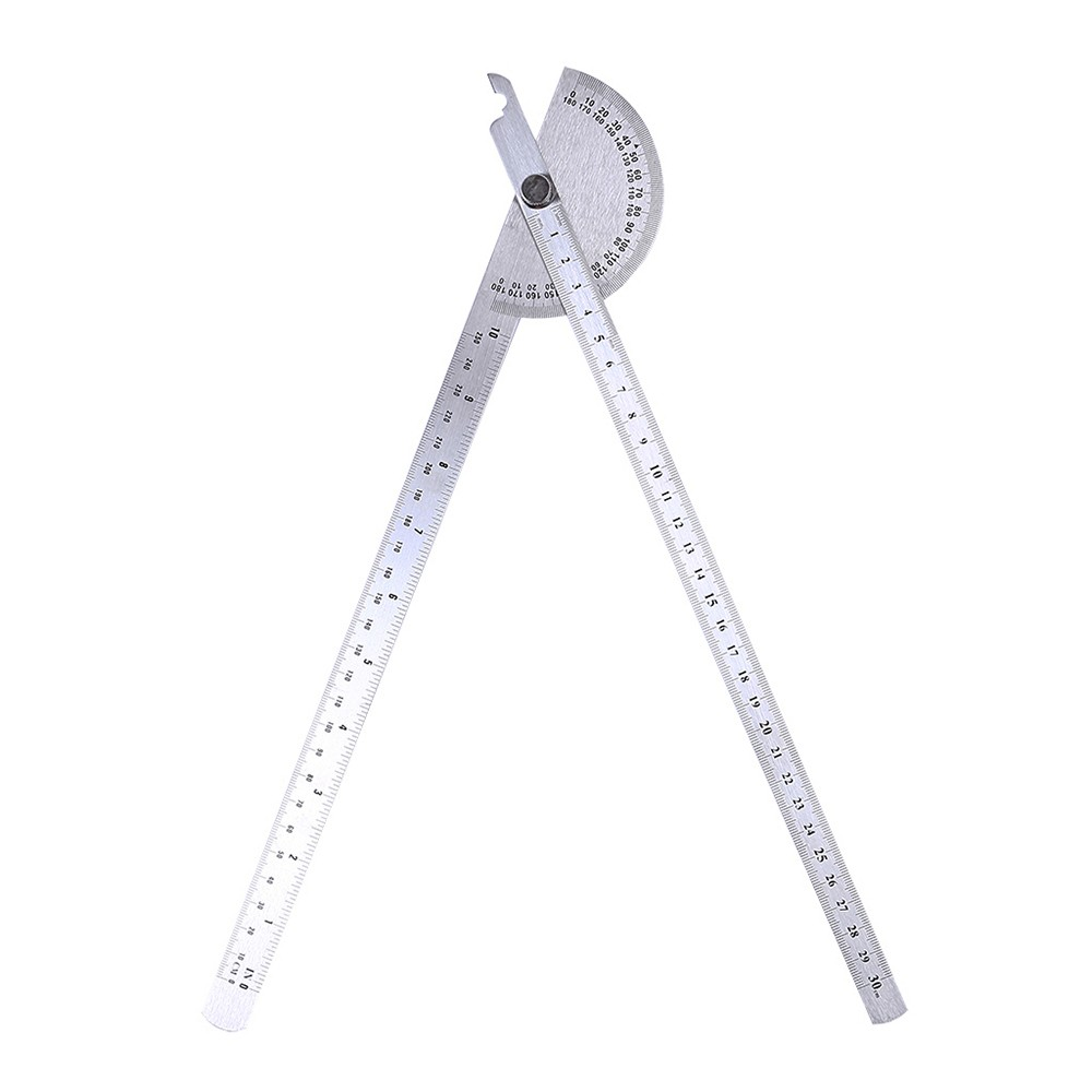 Stainless Steel 180 Degree Protractor Angle Finder Rotary Woodworking Measuring Ruler Craftsman Tool