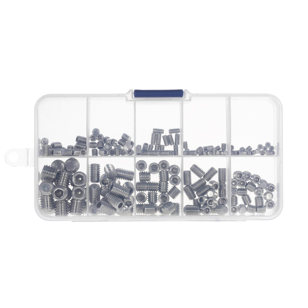 200pcs Stainless Steel Socket Screws Allen Head Socket Hex Set Grub Screw Assortment Cup Point Column M3-M6/M8 Hexagonal Screw Kit
