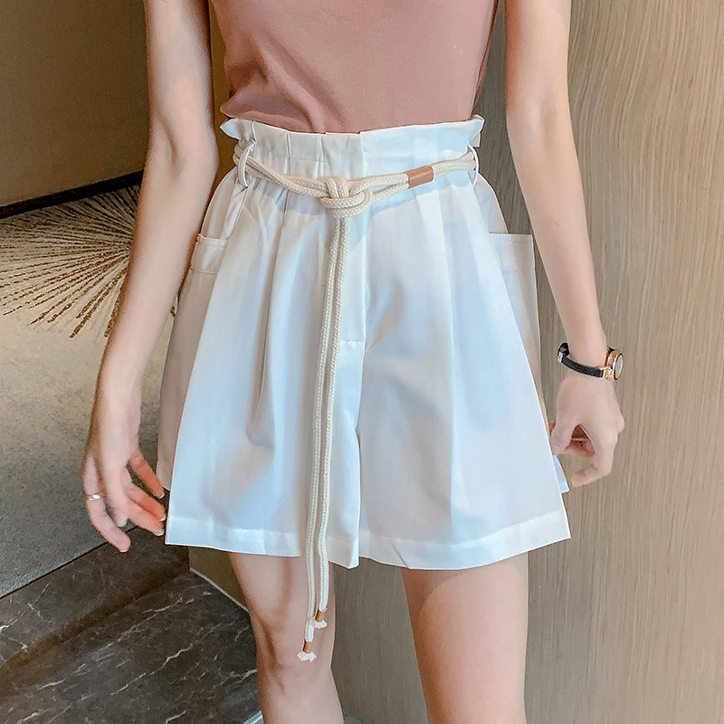 New fashion loose and all-around flower bud wide leg shorts women's high waist strap show thin casual pants