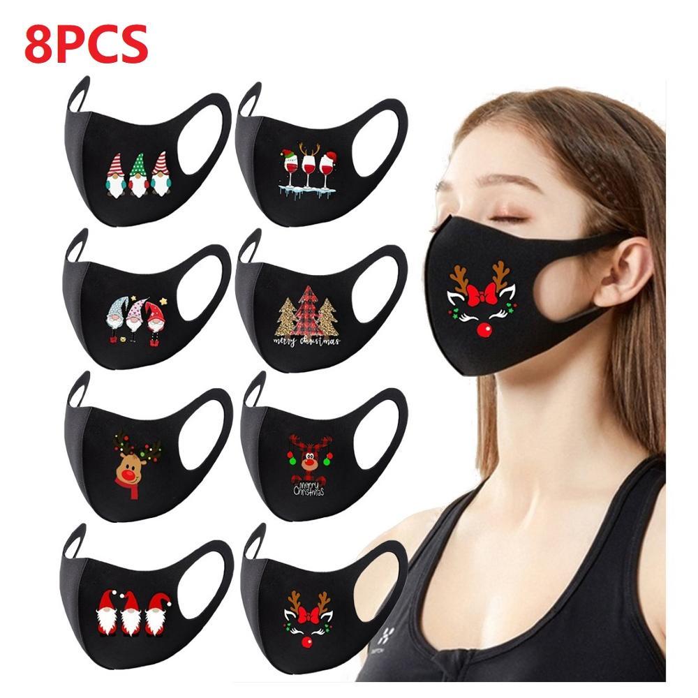 8PC多彩圣诞派对面具男女通用口罩